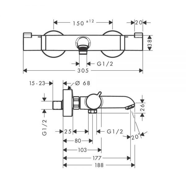 Hansgrohe Ecostat Comfort Thermostatische badkraan, mat zwart inclusief montage